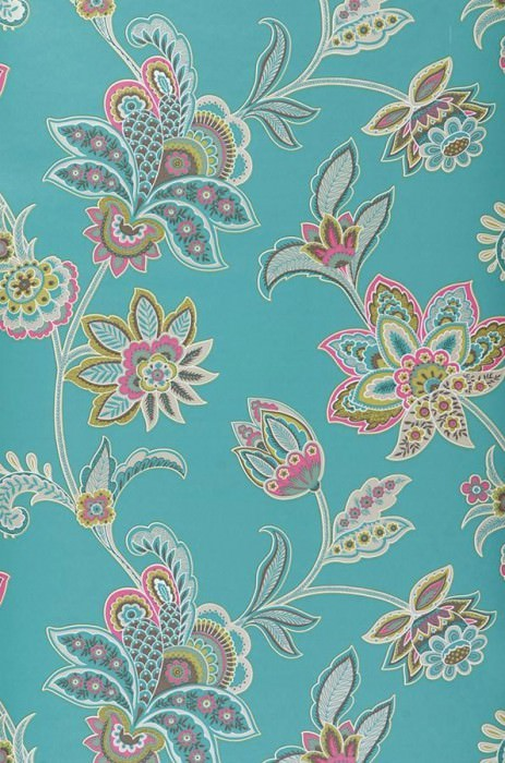 Wallpaper Marcia Matt Stylised flowers Turquoise Grey white Green Pink