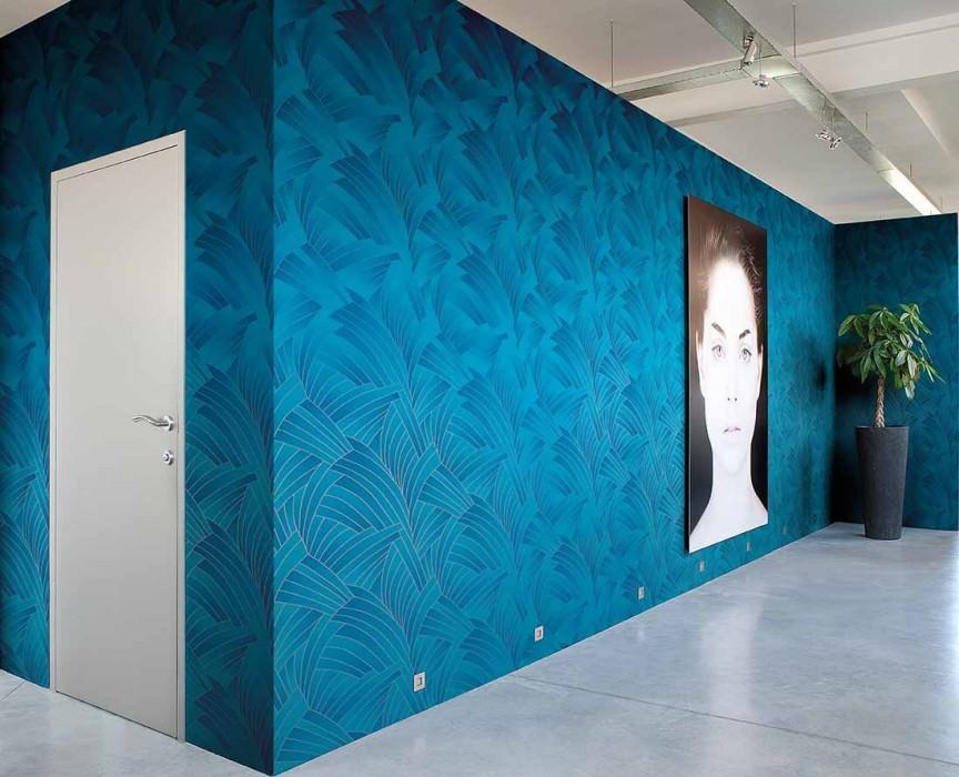 Wallpaper Nocuma Matt Fan pattern Dark blue Water blue