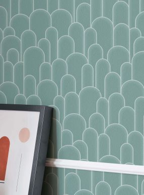 Papel pintado Fabius turquesa pastel Ver habitación