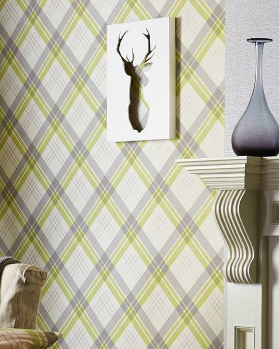 Archiv Wallpaper Arristo light yellow green Room View