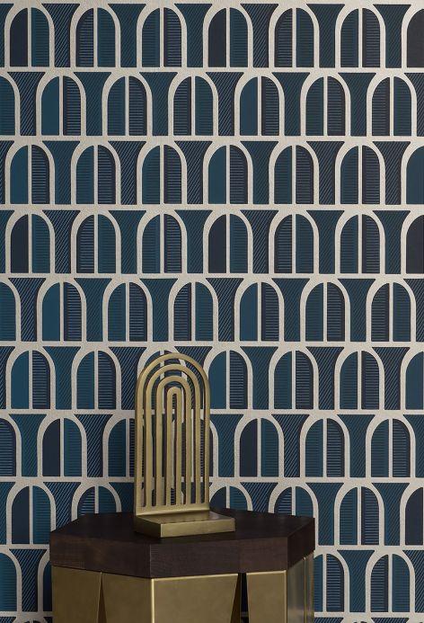 Geometric Wallpaper Wallpaper Vernazza shades of blue Room View