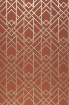 Wallpaper Baya Hand printed look Shimmering pattern Matt base surface Art Deco Graphic elements Copper brown Gold