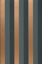 Wallpaper Timbu Matt Stripes Blue Green Bronze shimmer