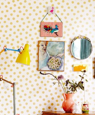 Papel pintado Corbetta oro brillante Ver habitación