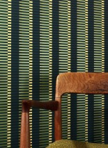 Wallpaper Basma Matt Stripes Blue Green Yellow Light green shimmer Black