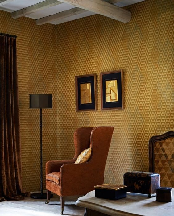 Wallpaper Orkeb Matt Geometrical elements Pale blue grey Gold shimmer Matt gold