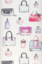 Wallpaper Yette Matt Handbags Perfume Bottles Dots Cream Anthracite Salmon red Pastel turquoise Violet
