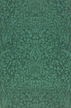 Wallpaper Cortona Hand printed look Matt Leaves Art nouveau Pine green Fern green