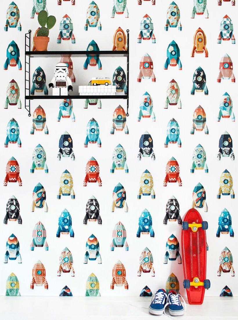 tapete rocket weiss blau mintgr n orange rot t rkis. Black Bedroom Furniture Sets. Home Design Ideas