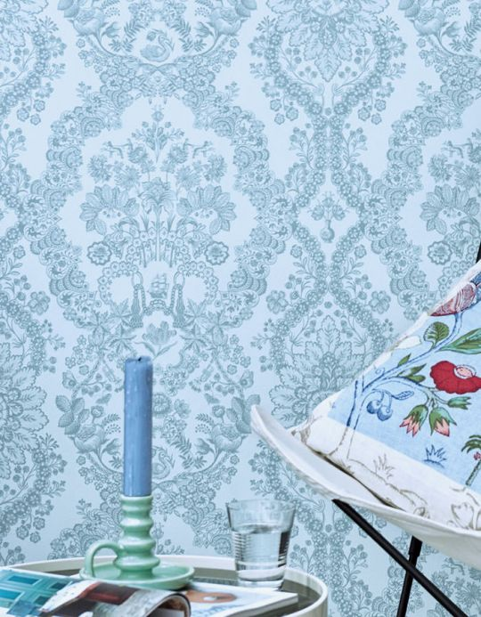 Damask Wallpaper Wallpaper Nuria pastel blue Room View