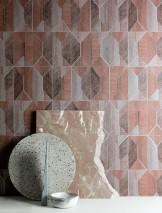 Papier peint Moura Mat Éléments géométriques Tons de brun Gris clair  Argent mat