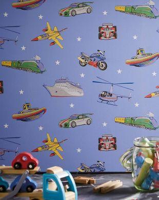 Papel de parede Alonso azul pastel Ver quarto