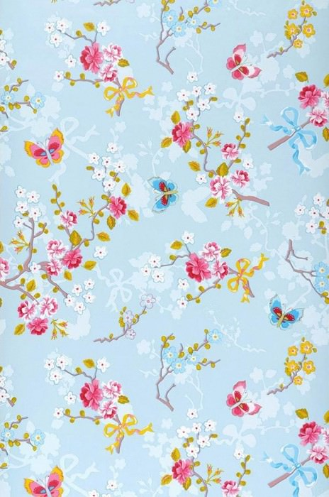Wallpaper Benina Matt Blossoms Butterflies Branches Pale light blue Strawberry red Yellow Yellow green Light blue White