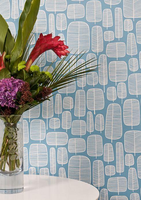 Papel pintado de diseño Papel pintado Little Trees azul pastel Ver habitación