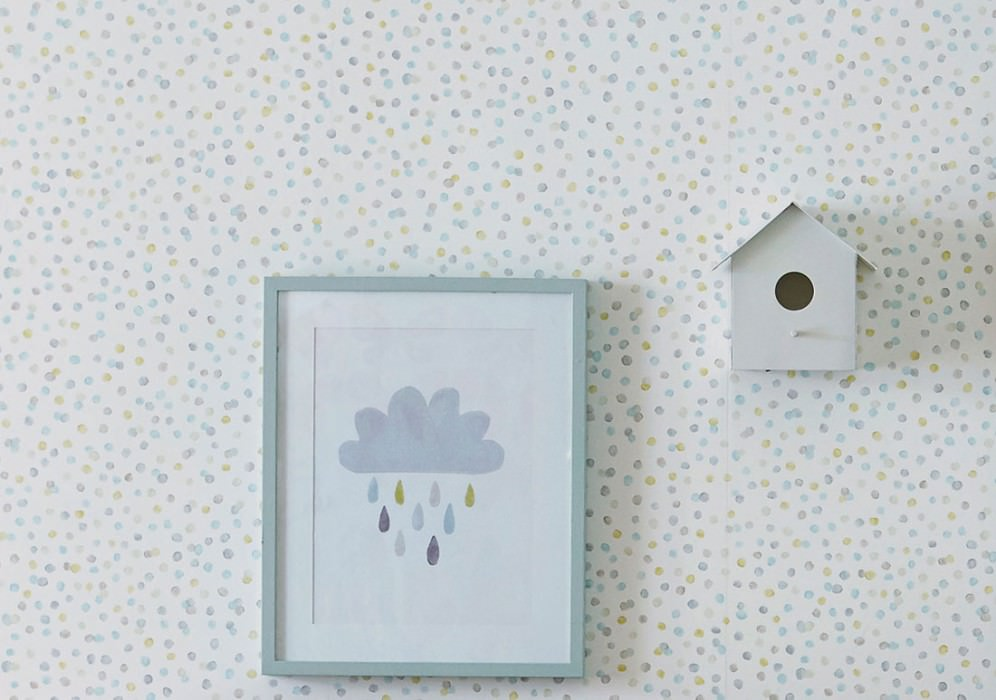 Wallpaper Uncountable Dots Matt Dots Cream Beige Grey beige Mint turquoise Lemon yellow