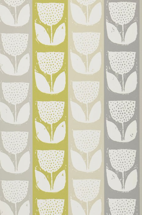 Wallpaper Ana Hand printed look Matt Shabby chic Stylised flowers Cream Agate grey Yellow green Grey Pebble grey