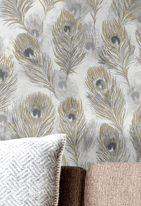 Wallpaper Noelia Matt Feathers Grey white Grey tones Pearl gold