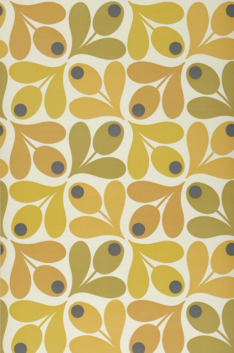 Wallpaper Loki Matt Stylised flowers Oyster white Anthracite Brown beige Curry yellow Gorze yellow  Honey yellow