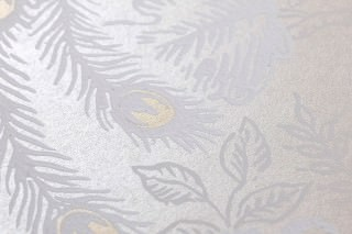 Wallpaper Izanuela Matt pattern Shimmering base surface Peacocks Branches with leaves and blossoms Cream Gold shimmer White