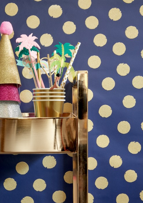 Wallpaper Corbetta Shimmering pattern Matt base surface Dots Cobalt blue Gold glitter