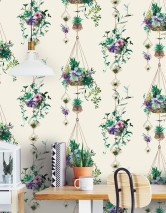Wallpaper Amelie Matt Hanging Baskets Cream Beige-brown shimmer Shades of green Rose Violet