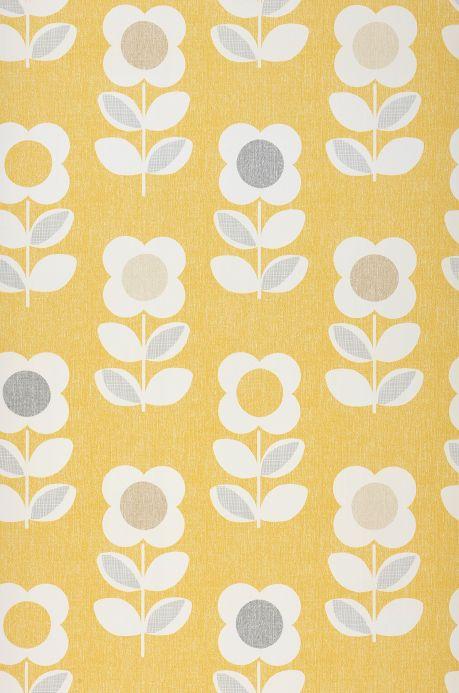 Papier peint vintage Papier peint Catania jaune ajonc Largeur de lé