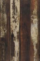Papier peint Scrapwood 17 Mat Shabby chic Imitation bois Brun Blanc crème Beige clair Brun noir
