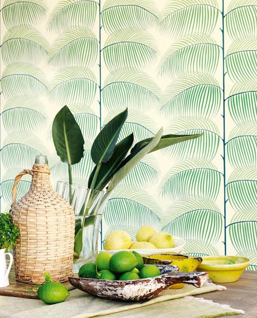 Silvana blanc cr me vert bleu vert jaune vert meraude papier peint fl - Papier peint des annees 70 ...