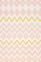 Wallpaper Tomoko Hand printed look Matt Zigzag Cream Maize yellow Pastel rose