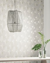 Wallpaper Elias Matt Triangles Graphic elements Cream Cream shimmer Grey beige