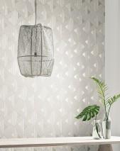 Wallpaper Elias Matt Triangles Graphic elements Cream Cream shimmer Grey beige