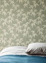 Papel pintado Manami Mate Hojas de bambú Verde caña Gris beige claro  Marfil claro