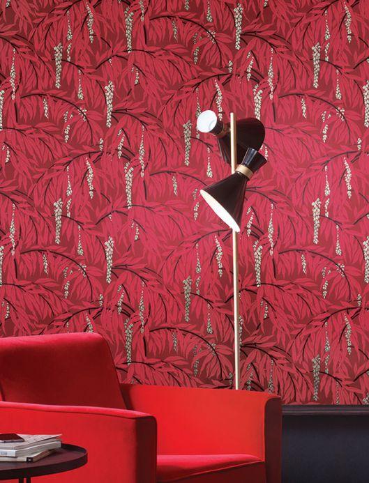 Botanical Wallpaper Wallpaper Maringa wine red Room View