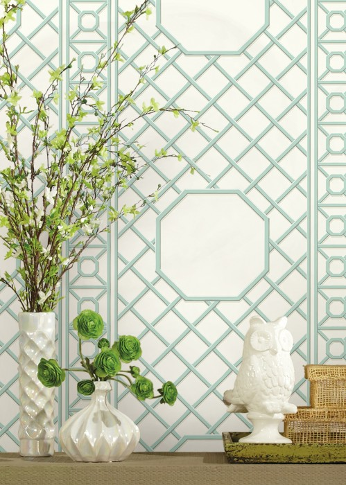 Wallpaper Tiramos Matt Graphic elements White Light ivory Mint turquoise