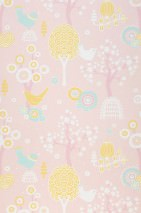 Wallpaper Körsbärsdalen Hand printed look Matt Trees Blossoms Birds Pastel rose Antique pink Cream Pastel turquoise Sand yellow