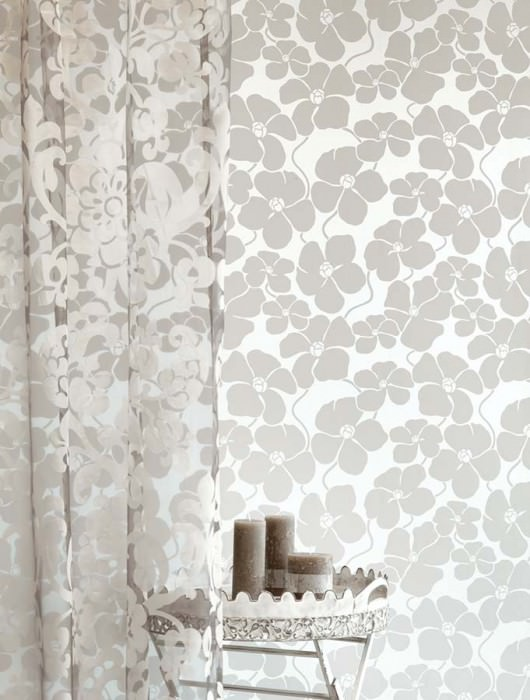 Wallpaper Marici Metallic effect Matt pattern Blossoms Silver metallic Light beige grey