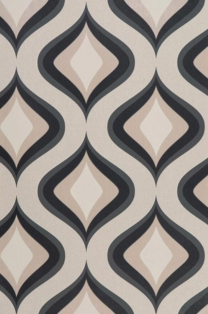 Papier peint triton ivoire ivoire clair noir papier - Papiers peints des annees 70 ...