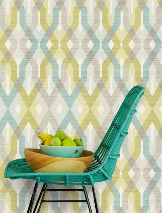 Green Wallpaper Wallpaper Karus mint turquoise Room View