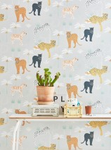 Wallpaper Black panther Hand printed look Matt Leopards Leopards Palm trees Panthers Tigers White grey Anthracite grey Yellow orange Pastel yellow Patina green