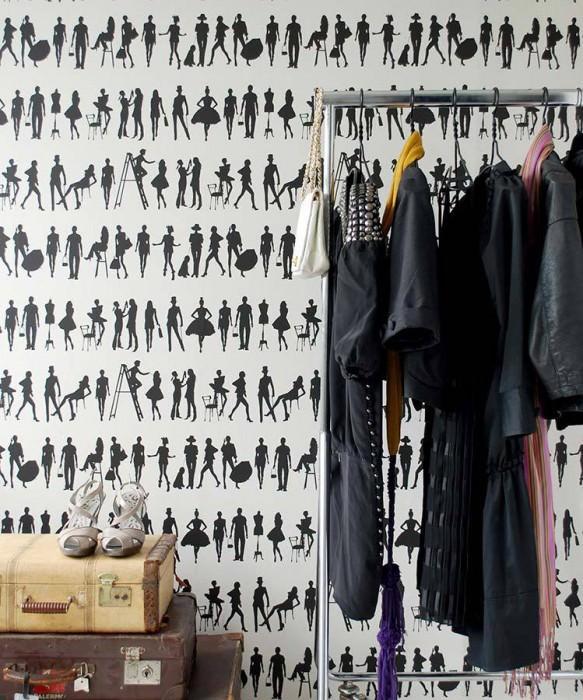 Wallpaper Fashion Matt People Silhouettes White Black