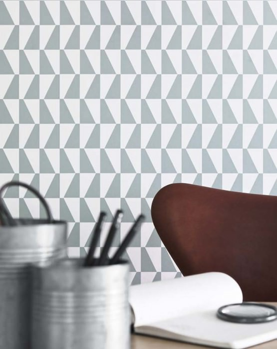 Wallpaper Balder Matt Graphic trapezium White Mint grey
