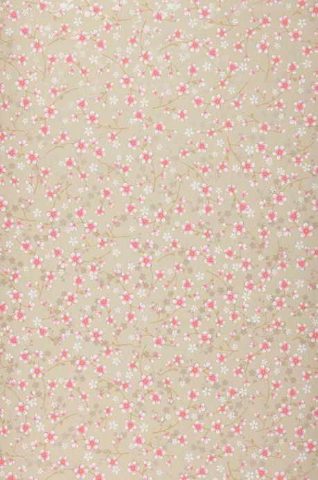 Papel pintado floral Papel pintado Felicia beige grisáceo claro Ancho rollo