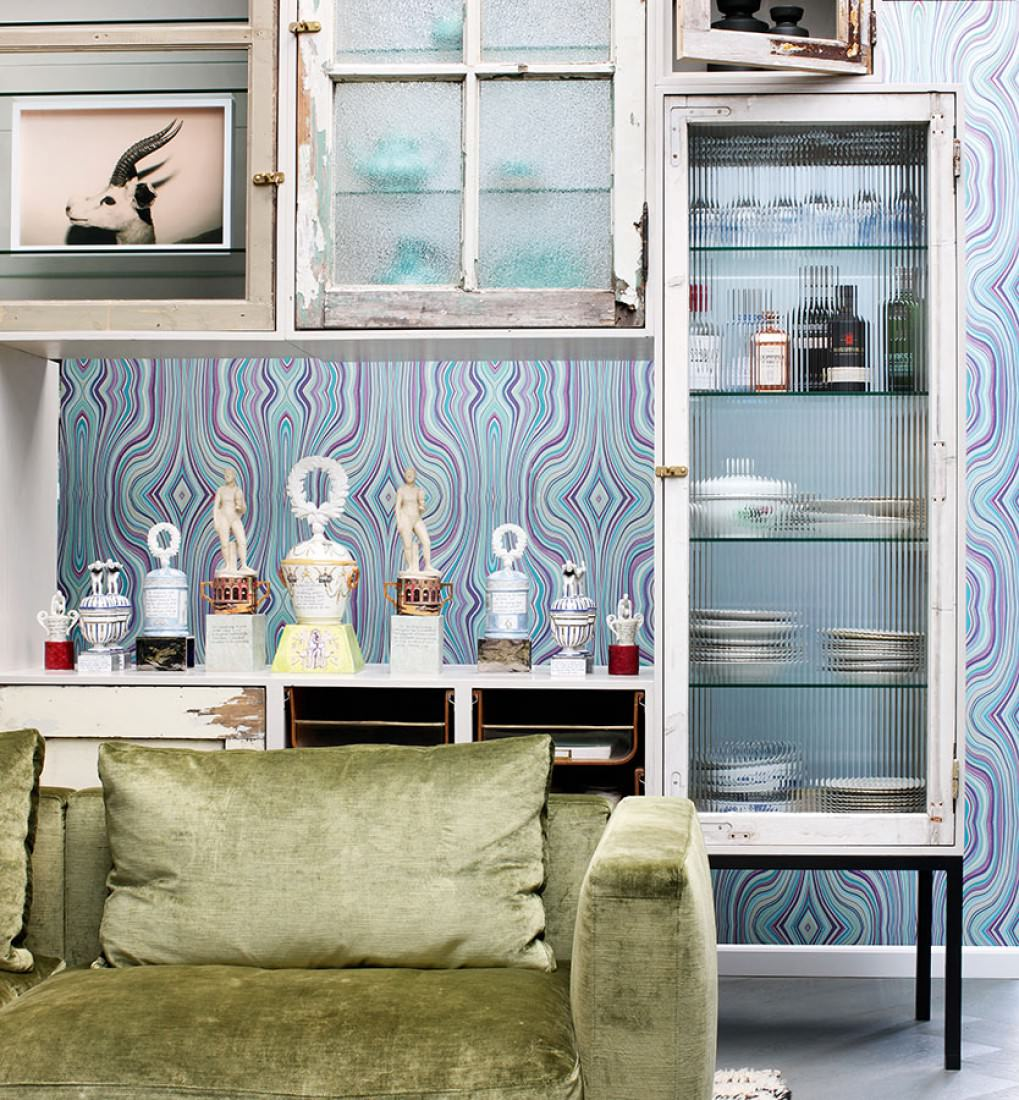 papier peint mentana vert p le blanc cr me bleu clair turquoise violet papier peint des. Black Bedroom Furniture Sets. Home Design Ideas