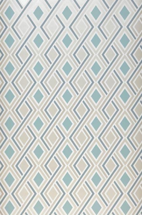 Papel pintado geométrico Papel pintado Iroko turquesa pastel Ancho rollo