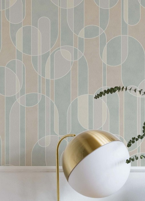 Wallpaper Asenio Matt Graphic elements White Pale yellow Green white Light grey Pastel turquoise
