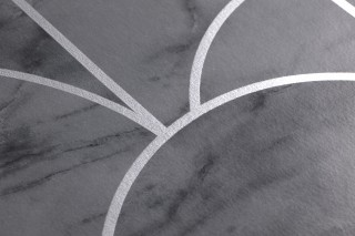 Wallpaper Zania Shimmering pattern Matt base surface Art Deco Bends Dark grey Grey White aluminium