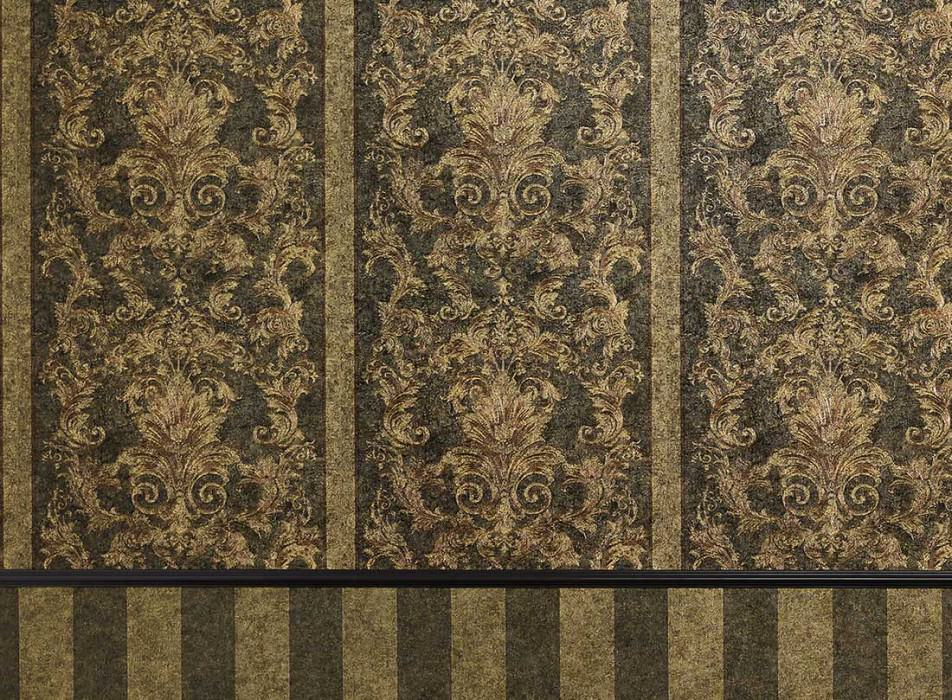 Wallpaper Pezolato Shimmering pattern Matt base surface Baroque damask Brown grey Khaki grey Fawn brown Sand yellow