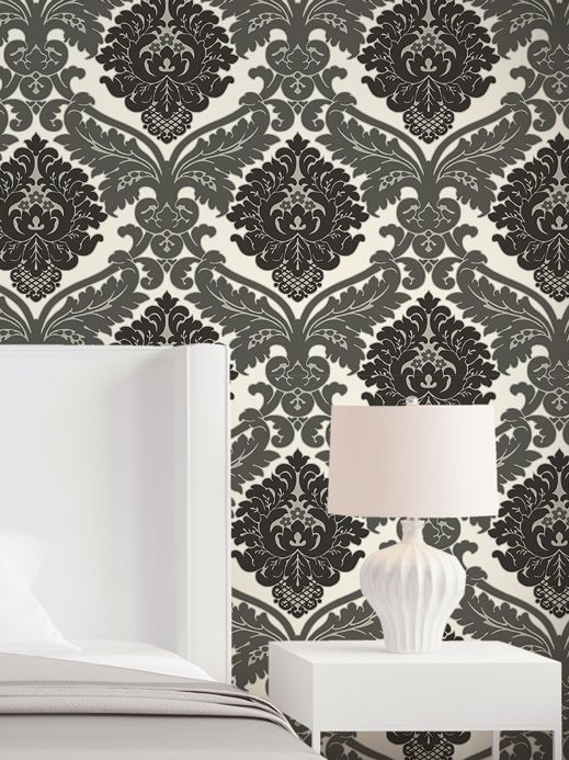 Archiv Wallpaper Samanta dark grey Room View