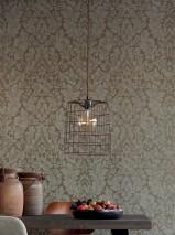 Wallpaper Lumina Matt pattern Shimmering base surface Floral damask Dark grey shimmer Stone grey