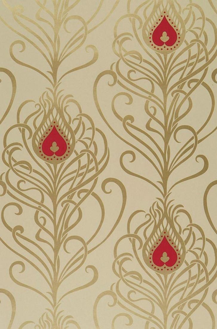 Carta da parati elektra avorio chiaro oro rosso lampone for Carta da parati bohemian